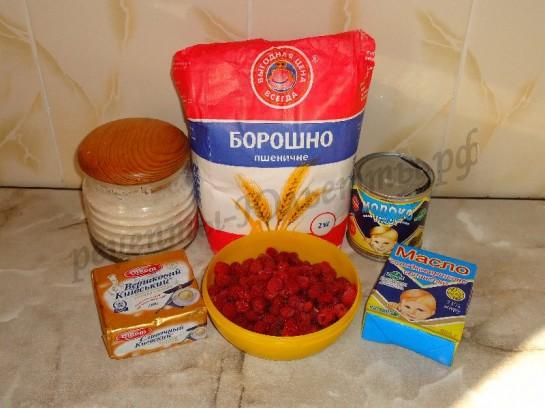 ингредиенты для корзиночек с кремом и малиной