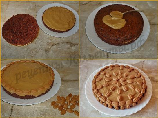 промазываем и украшаем торт