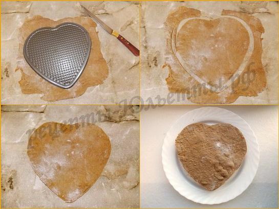 вырезаем коржи в виде сердца
