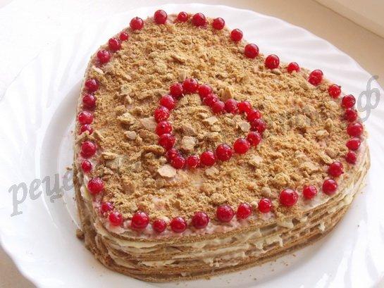 торт в виде сердца без формы