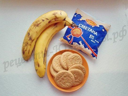 ингредиенты для пирожных или торта крекер банан