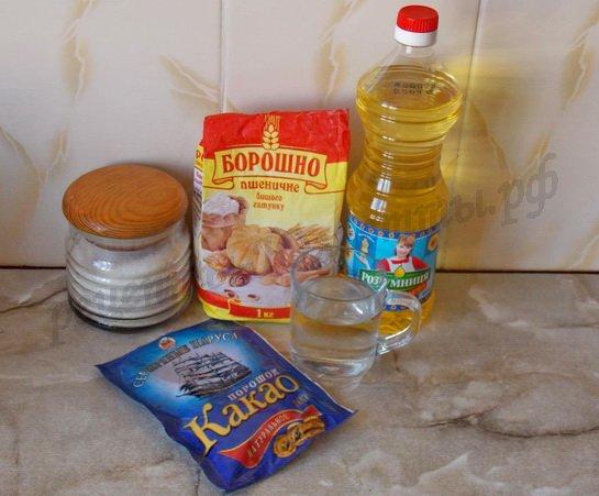 ингредиенты для постных кексов с какао