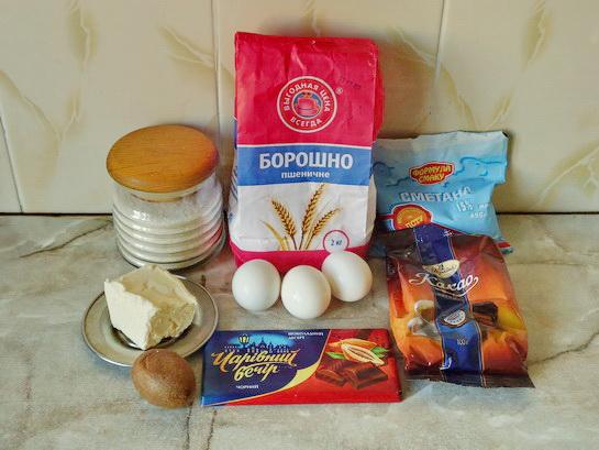 ингредиенты для кекса с какао и киви