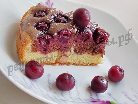 бисквитный пирог с вишней фото