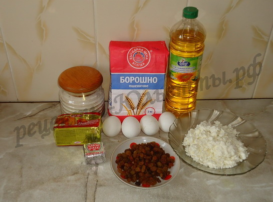 ингредиенты для ватрушек с творогом