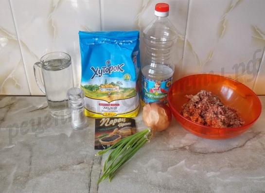 ингредиенты для чебуреков с фаршем
