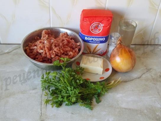ингредиенты для домашней самсы с мясом
