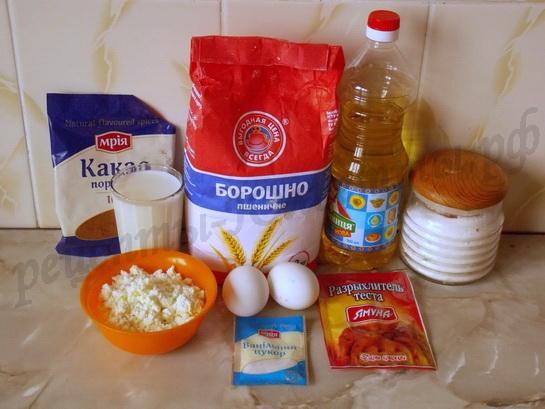 ингредиенты для шоколадных кексов с творогом