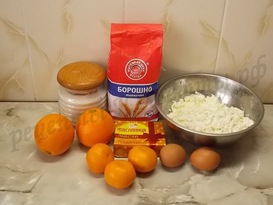 ингредиенты для апельсинового пирога с творогом