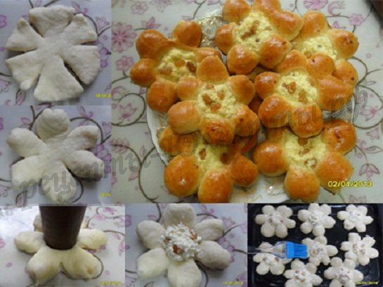 красивые формы булочек фото: ватрушка-цветок