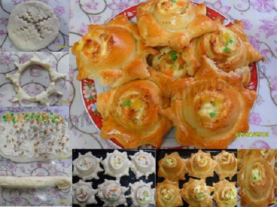 как сделать красивые булочки фото: ватрушка-солнышко