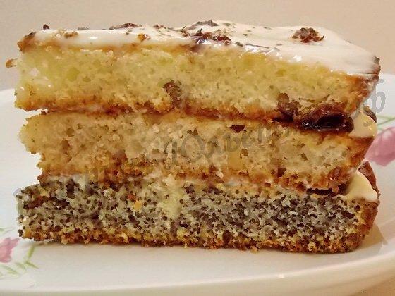 торт сказка из 3 коржей в разрезе
