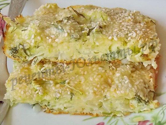 вкусная капустная запеканка с кунжутом