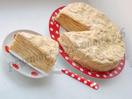 нежный медовый банановый торт