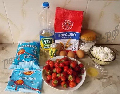 ингредиенты для творожно-клубничного чизкейка