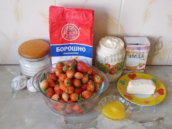 ингредиенты для пирога со свежей клубникой