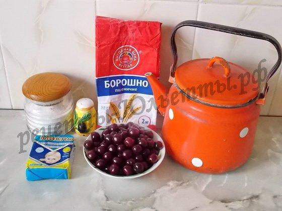 ингредиенты для вареников с вишнями