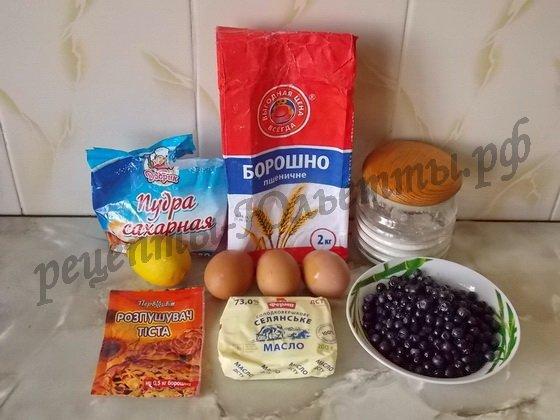 ингредиенты для черничного кекса в глазури