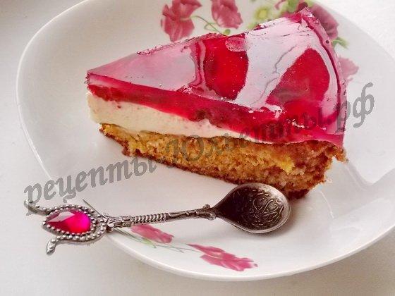 малиновый торт с желе