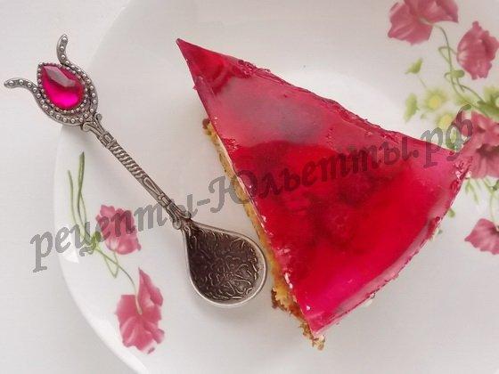 малиновый торт с желе фото