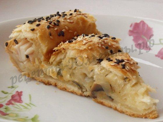 пирог сыр грибы ветчина