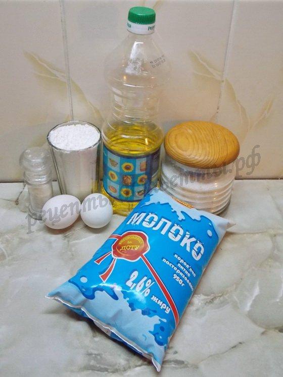 ингредиенты для вафель на молоке
