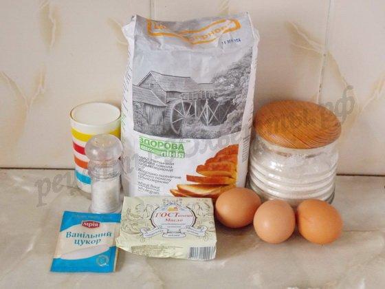 ингредиенты для брюссельских вафель
