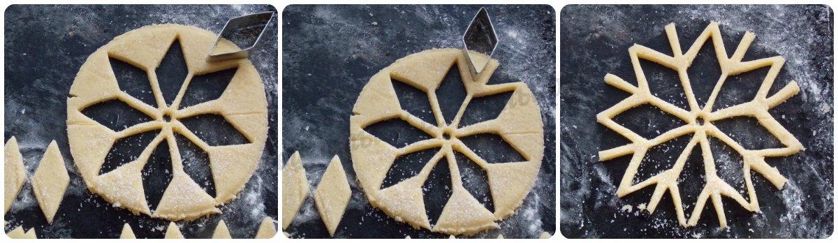 как сделать песочное печенье снежинки