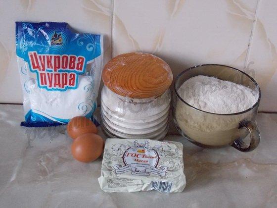ингредиенты для новогоднего песочного печенья