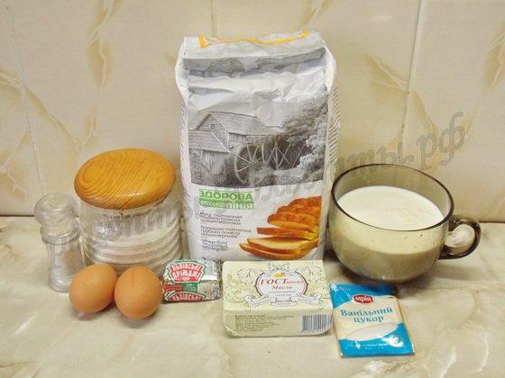 ингредиенты для вафель на дрожжах