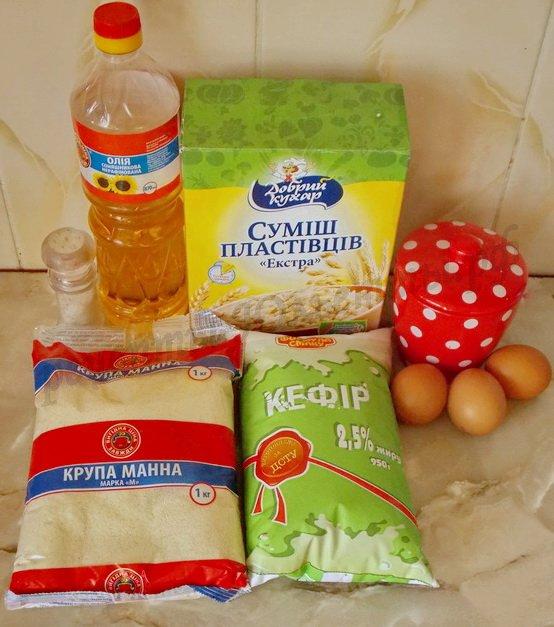 ингредиенты для блинчиков с манкой и овсянкой