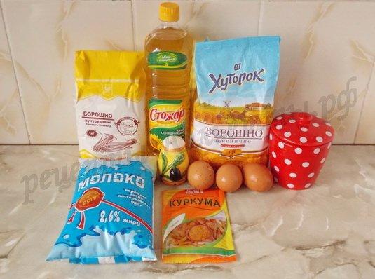 ингредиенты для кукурузных блинчиков