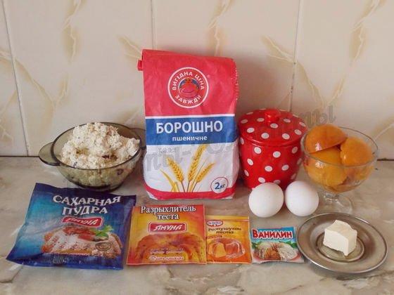 ингредиенты для творожной выпечки с персиками