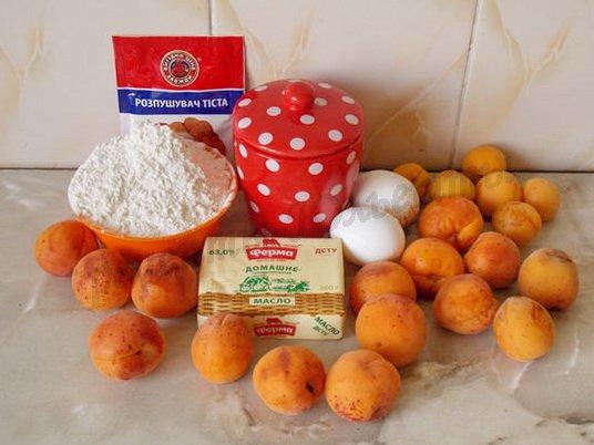 ингредиенты для пирога со свежими абрикосами