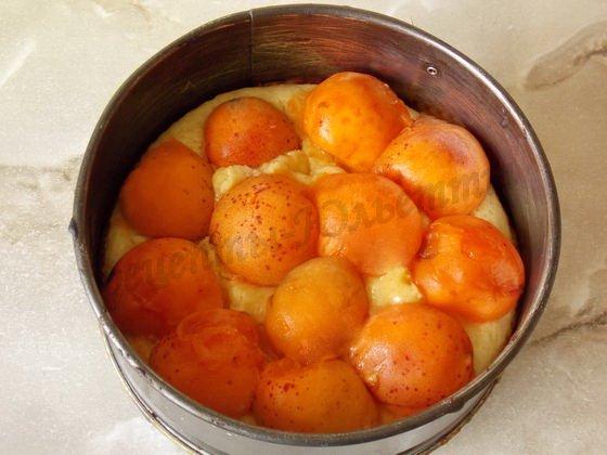 на тесто выложим абрикосы