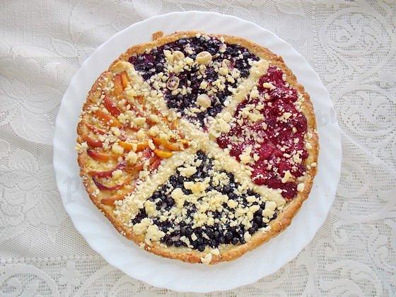 как приготовить четырёхцветный пирог с ягодами
