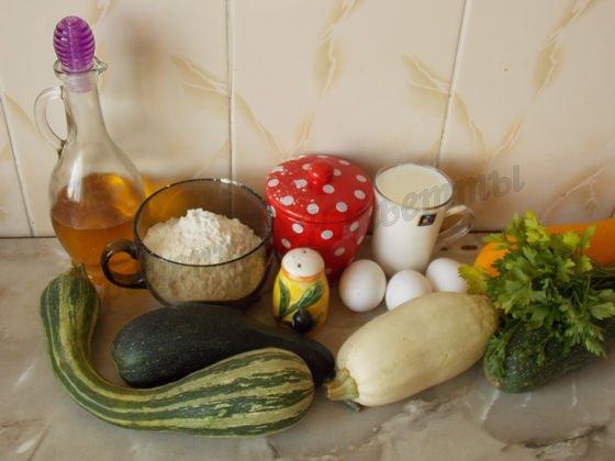 ингредиенты для оладьев с кабачками