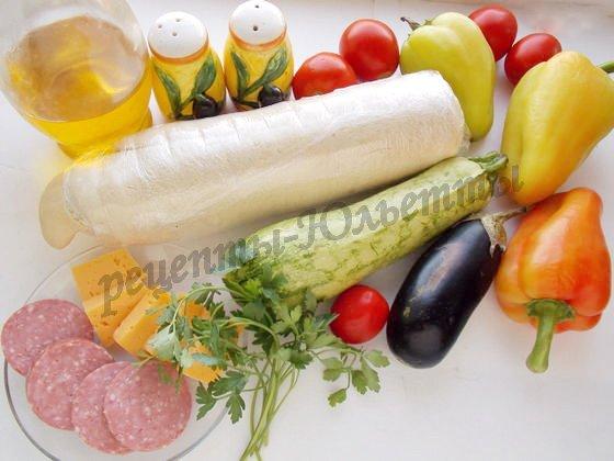 ингредиенты для пиццы из того,  что есть в холодильнике
