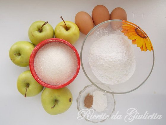 ingredienti di torta con mele