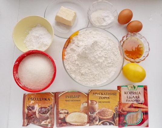 ингредиенты для имбирно-медовых пряников