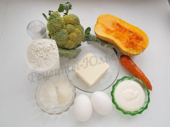 ингредиенты для  морковно-тыквенных кексов с брокколи