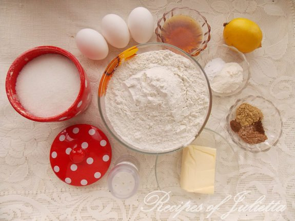 ingredients for honey gingerbread
