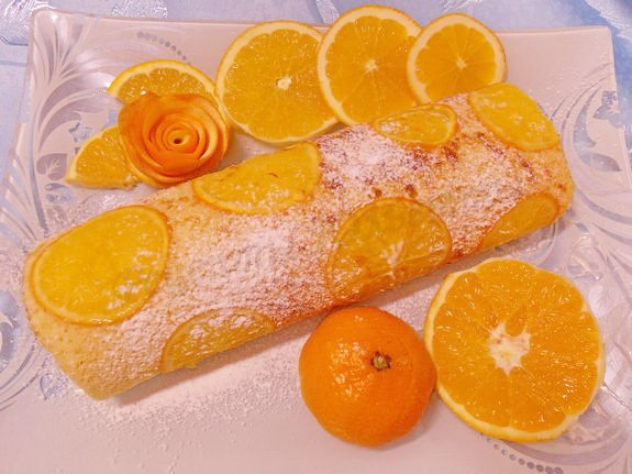 бисквитный рулет с апельсинами