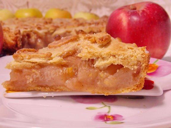 пирог из песочного теста с яблоками рецепт с фото