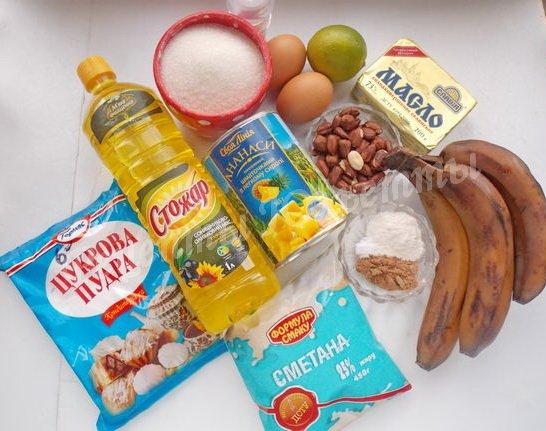 ингредиенты для бананового-ананасного торта