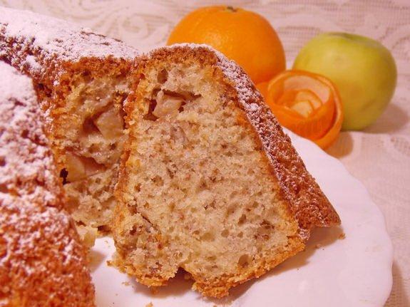 вкусный яблочно-орехово-апельсиновый кекс
