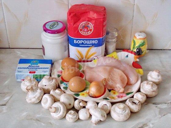 ингредиенты для пирога с грибами и куриным филе