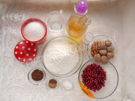 ингредиенты для клюквенно-орехового кекса