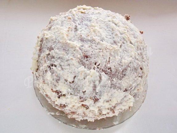 обмазываем торт кремом