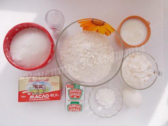 ингредиенты для булочек со сметаной